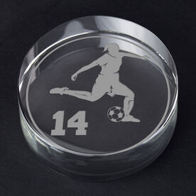 Soccer Personalized Engraved Crystal Gift - Personalized Silhouette (Female)