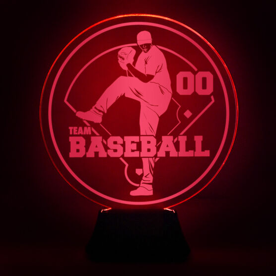 Baseball Acrylic LED Lamp Pitcher With Team Name and Number