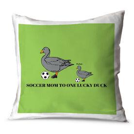 Soccer Throw Pillow Soccer Mom Lucky Ducks