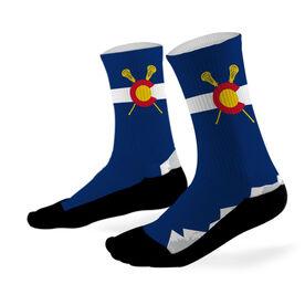 Lacrosse Printed Mid Calf Socks Colorado