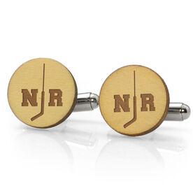 Hockey Engraved Wood Cufflinks Goalie Split Initials