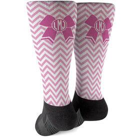 Cheerleading Printed Mid-Calf Socks - Monogrammed Cheer Bow