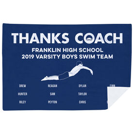 Swimming Premium Blanket - Thanks Coach Male (Horizontal)