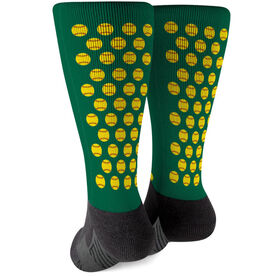 Softball Printed Mid-Calf Socks - Softball Pattern