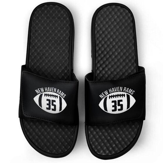 Football Black Slide Sandals - Number In Ball