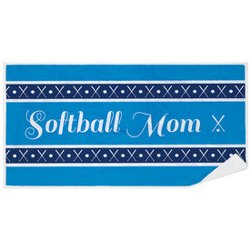 Softball Premium Beach Towel - Mom Stripe