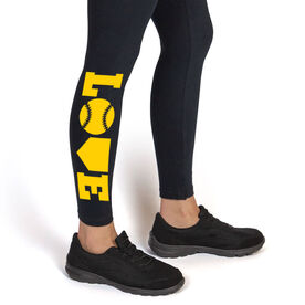 Softball Leggings - Softball Love (Yellow)