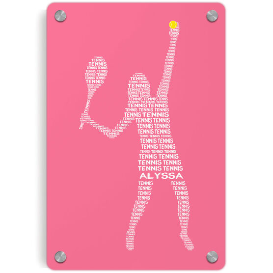 Tennis Metal Wall Art Panel - Personalized Tennis Words Girl