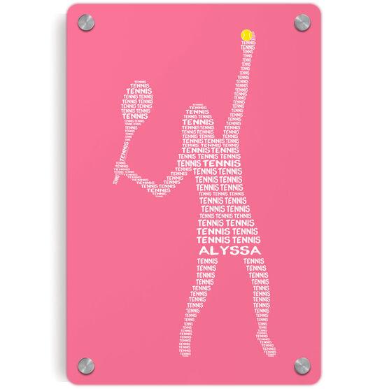 Tennis Metal Wall Art Panel - Personalized Tennis Words Girl