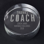 Field Hockey Personalized Engraved Crystal Gift - Thanks Coach