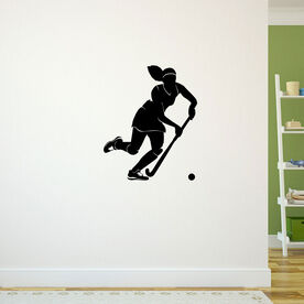 Field Hockey Girl Dribbling Removable ChalkTalkGraphix Wall Decal
