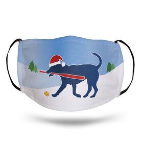 Softball Face Mask - Santa Dog