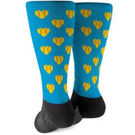 Softball Printed Mid-Calf Socks - Softball Hearts