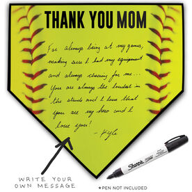 Softball Home Plate Plaque - Thank You Mom