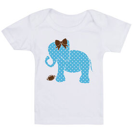 Football Baby T-Shirt - Football Elephant with Bow