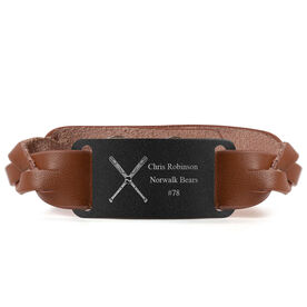 Baseball Leather Bracelet with Engraved Plate - Personalized Crossed Bats