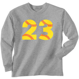 Softball T-Shirt Long Sleeve Number Stitches