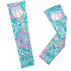 Basketball Printed Arm Sleeves Floral Pattern with Basketball