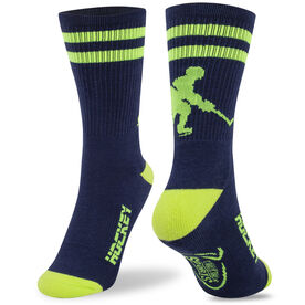 Hockey Woven Mid Calf Socks - Player (Blue/Neon Yellow)
