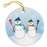 Guys Lacrosse Porcelain Ornament Dad Snowman