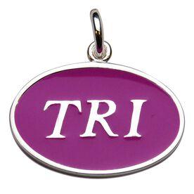 Sterling Silver Triathlon and Pink Enamel Charm