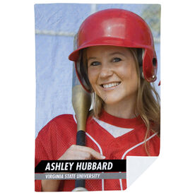 Softball Premium Blanket - Custom Softball Player Photo