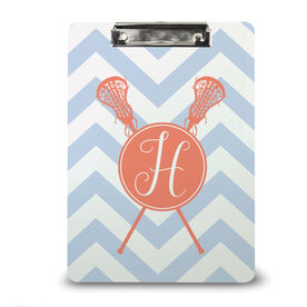 Girls Lacrosse Custom Clipboard Monogram with Crossed Sticks and Chevron