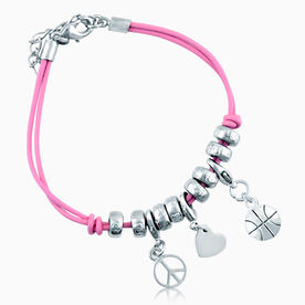 Peace. Love. Basketball Silver Charm Bracelet