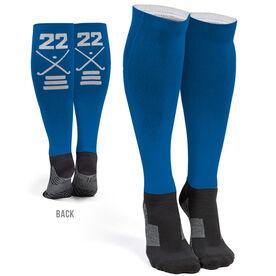 Field Hockey Printed Knee-High Socks - Crossed Sticks Team Number