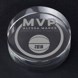 Basketball Personalized Engraved Crystal Gift - MVP Award