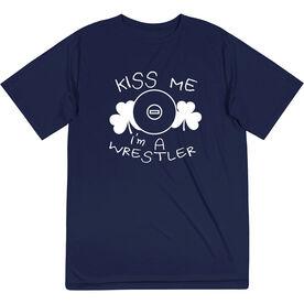 Wrestling Short Sleeve Performance Tee - Kiss Me I'm A Wrestler
