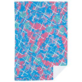 Field Hockey Premium Blanket - Floral with Crossed Sticks