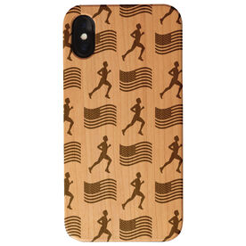 Running Engraved Wood IPhone® Case - Male Runner and USA Flag Pattern