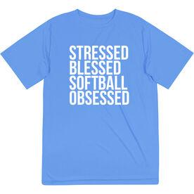 Softball Short Sleeve Performance Tee - Stressed Blessed Softball Obsessed