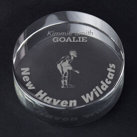 Field Hockey Personalized Engraved Crystal Gift - Player Silhouette with Custom Text (Goalie)