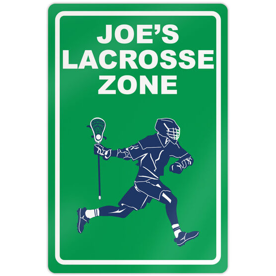 "Lacrosse Aluminum Room Sign Personalized Lacrosse Zone Guy (18"" X 12"")"