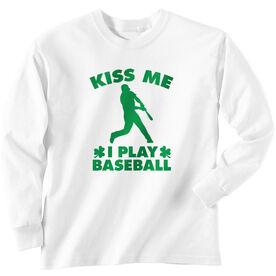 Baseball Tshirt Long Sleeve Kiss Me I Play Baseball