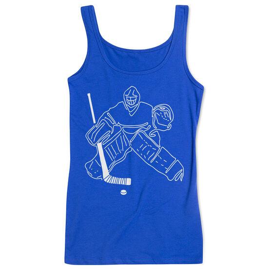 Hockey Women's Athletic Tank Top - Hockey Goalie Sketch