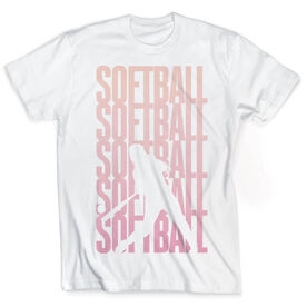 Vintage Softball T-Shirt - Softball Fade Silhouette