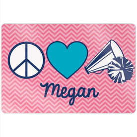 "Cheerleading 18"" X 12"" Aluminum Room Sign - Personalized Peace Love Cheer Chevron"