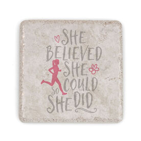 Running Stone Coaster - She Believed She Could