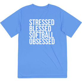 Softball Short Sleeve Performance Tee - Stressed Blessed Softball Obsessed