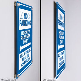 "Hockey 18"" X 12"" Aluminum Room Sign - No Parking Sign With Crossed Sticks"