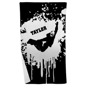 Snowboarding Beach Towel Silhouette with Splatter Background