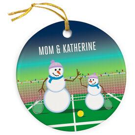 Tennis Porcelain Ornament Snowman Mother & Child