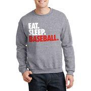 Baseball Crew Neck Sweatshirt - Eat Sleep Baseball Bold
