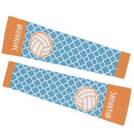 Volleyball Printed Arm Sleeves - Personalized Volleyball Quatrefoil Pattern