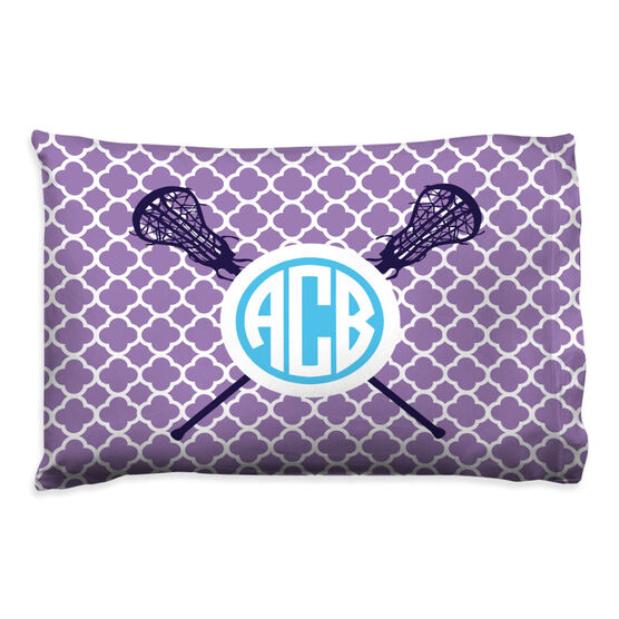 Girls Lacrosse Pillowcase - Personalized Monogram Sticks With Quatrefoil Pattern