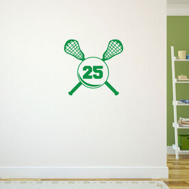 Guys Lacrosse Removable ChalkTalkGraphix Wall Decal - Crossed Sticks with Number