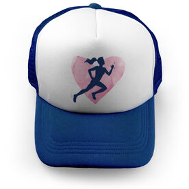 Cross Country Trucker Hat Watercolor Heart Girl